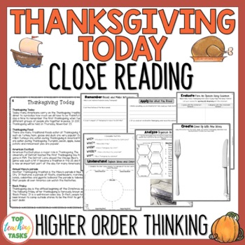 Thanksgiving Today Reading Comprehension Passage And Questions Tpt
