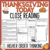 Thanksgiving Today Reading Comprehension Passage and Questions