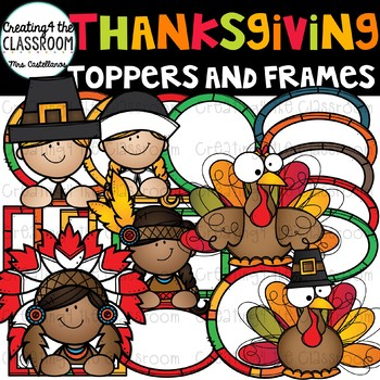 Thanksgiving Toppers and Frames Clip Art  {Thanksgiving Clip Art}