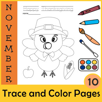 Thanksgiving Trace and Color Pages {Fine Motor Skills + Pre-writing}