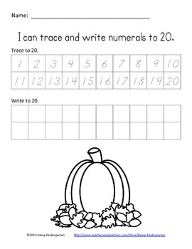 Thanksgiving Trace and Write Numerals to 20 FREE