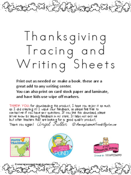 Thanksgiving Tracing and Writing Sheets