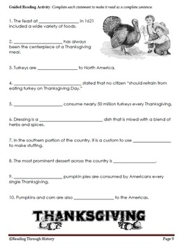 Thanksgiving Traditions: Common Core