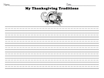 Thanksgiving Traditions- Personal Narrative Writing