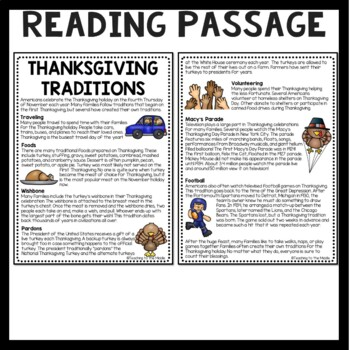 Thanksgiving Traditions Reading Comprehension & questions, November, Holidays