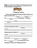 Thanksgiving Traditions Writing Template Organizer