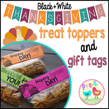 Thanksgiving Treat Toppers and Gift Tags (black and white)
