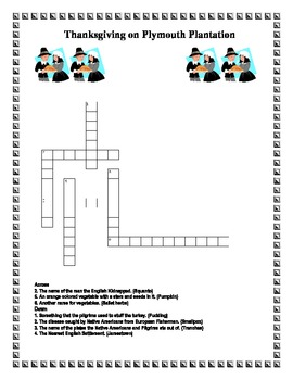 Thanksgiving on Plymouth Plantation Tree Map & Crossword Puzzle