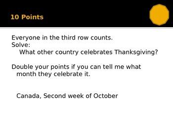 Thanksgiving Trivia Game