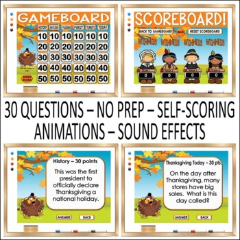 Thanksgiving Trivia Game:  Fun Jeopardy Style editable PowerPoint Game Show