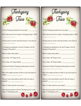 Thanksgiving Trivia Game with Answers| Instant Download