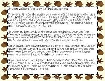 Thanksgiving Trivia Paper Chain Activity Freebie