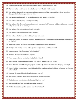 Thanksgiving Trivia Research Activity (web quest)