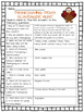 Thanksgiving Trivia Scavenger Hunt Worksheet; November