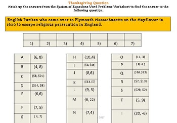 Thanksgiving Trivia - Systems of Equations Word Problems
