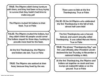 Thanksgiving True or False