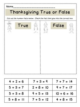 Thanksgiving True or False Addition Fact Sort