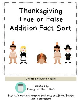 Thanksgiving True or False Addition Fact Sort