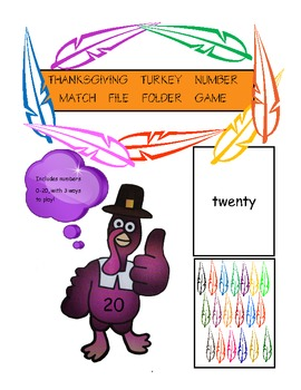 Thanksgiving Turkey 0-20 Number Set Matching File Folder Game