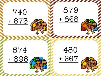 Thanksgiving Turkey 2, 3, and 4 Digit Addition with Regrouping Cards