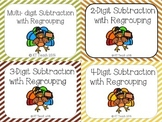 Thanksgiving Turkey 2, 3, and 4 Digit Subtraction with Regrouping Cards