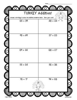 Thanksgiving Turkey Addition Practice - 2 and 3-Digit Work