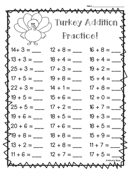Thanksgiving Turkey Addition Practice - Leveled - 3 worksheets included!