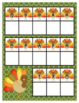 Thanksgiving Turkey Alphabet Matching Activity