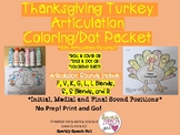 Thanksgiving Turkey Articulation Dot and Coloring Sheets Packet. Print and Go!