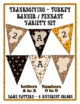 Thanksgiving Turkey Banner Pennant - 4 Design Bundle - Print your own Message