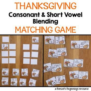 Thanksgiving Consonant Vowel Blending Game