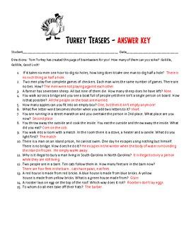 Thanksgiving Turkey Brainteaser Challenge - Activity Packet