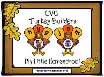 Thanksgiving Turkey CVC Word Builders