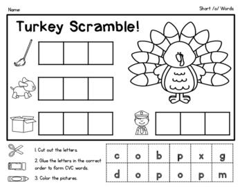Thanksgiving Turkey CVC Word Scramble