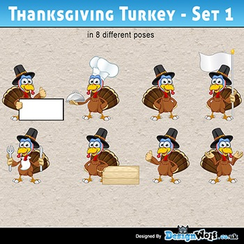 Thanksgiving Turkey Character - Set 1 - All Formats