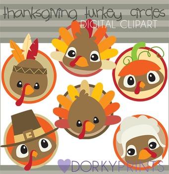 Thanksgiving Turkey Circles Digital Clip Art