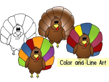 Thanksgiving Turkey Clip Art- Color and Line Art 4pc set