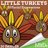 Thanksgiving Turkey Clip Art - Little Turkeys with Facial Expressions