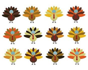 Thanksgiving Turkey Clipart, Digital Clipart, Thanksgiving Clipart Set #083