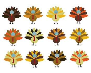 Thanksgiving Turkey Clipart, Digital Clipart, Thanksgiving Clipart Set #083