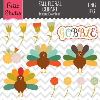 Thanksgiving Turkey Clipart // Fall Flower Clipart // Autu