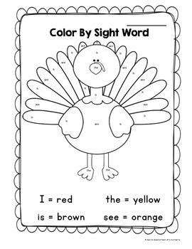 Thanksgiving Turkey Color By Sight Word Printable by Grade ...