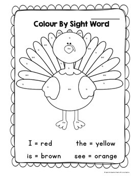 photo relating to Color by Sight Word Printable named Thanksgiving Turkey Shade By means of Sight Term Printable