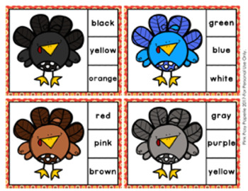Thanksgiving Turkey Color Match Clip Cards and Memory Game