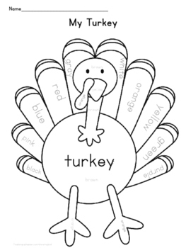 Thanksgiving Turkey Color Sheet
