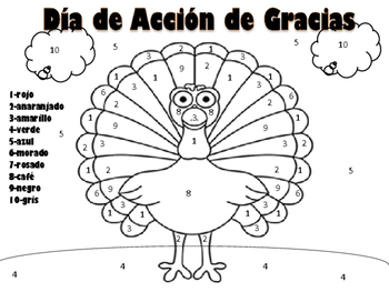 Thanksgiving Turkey Color by number in Spanish