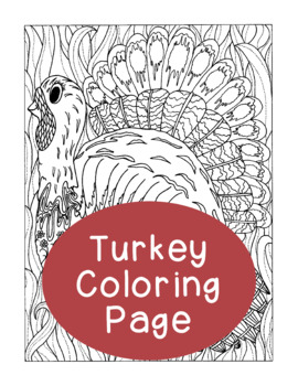 Thanksgiving Turkey Coloring Page, Bulletin Board, Adult ...