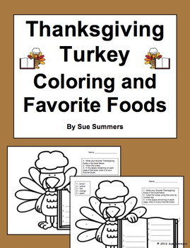 Thanksgiving Turkey Coloring and Favorite Foods