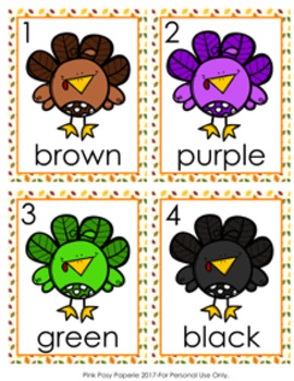 Thanksgiving Turkey Colors Write the Room Activity