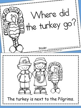 Thanksgiving Activities - 'Where did the turkey go?' Positional Words Reader